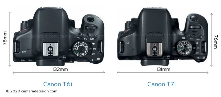 Canon T6i vs Canon T7i Camera Size Comparison - Top View
