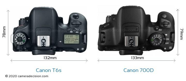 Canon T6s vs Canon 700D Camera Size Comparison - Top View