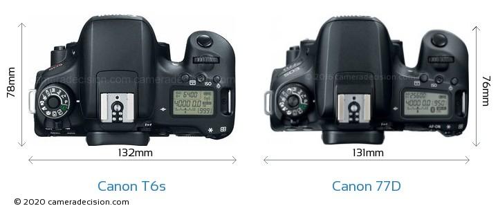 Canon T6s vs Canon 77D Camera Size Comparison - Top View