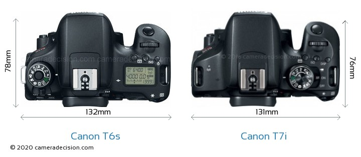 Canon T6s vs Canon T7i Camera Size Comparison - Top View