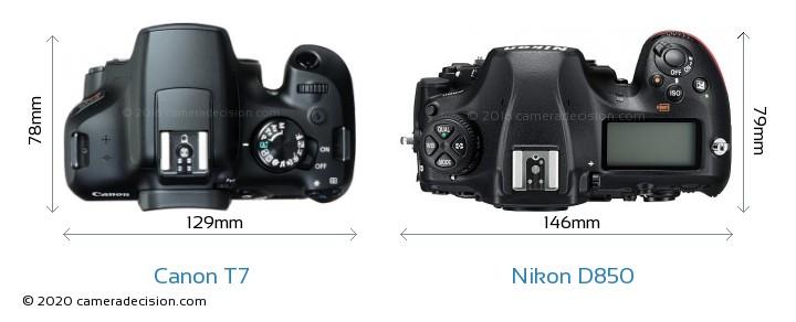 Canon T7 vs Nikon D850 Camera Size Comparison - Top View