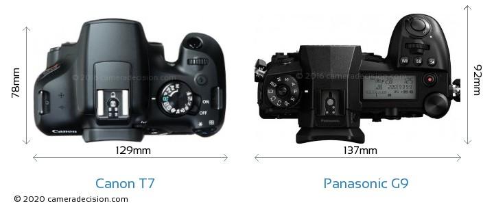 Canon T7 vs Panasonic G9 Camera Size Comparison - Top View