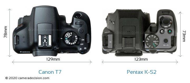 Canon T7 vs Pentax K-S2 Camera Size Comparison - Top View