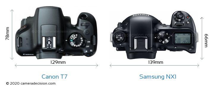 Canon T7 vs Samsung NX1 Camera Size Comparison - Top View