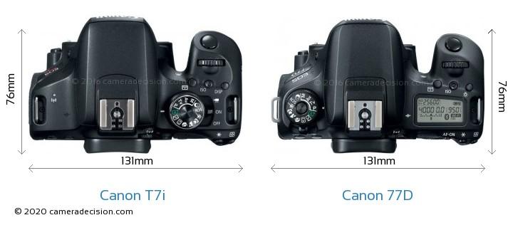 Canon T7i vs Canon 77D Camera Size Comparison - Top View