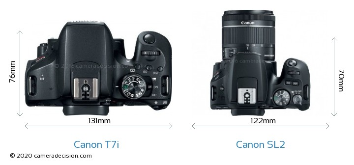 Canon T7i vs Canon SL2 Camera Size Comparison - Top View