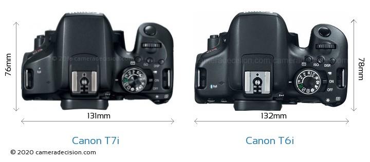 Canon T7i vs Canon T6i Camera Size Comparison - Top View