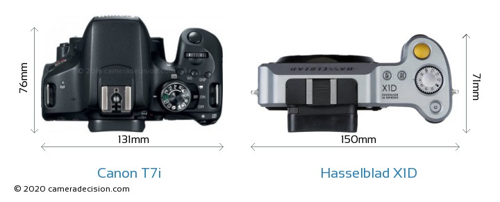 Canon T7i vs Hasselblad X1D Camera Size Comparison - Top View
