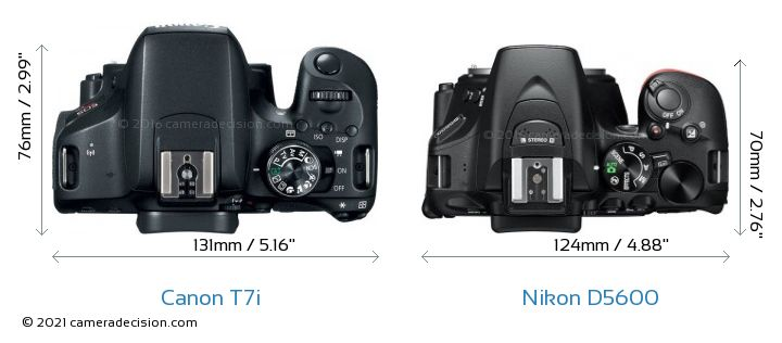 Canon T7i vs Nikon D5600 Camera Size Comparison - Top View