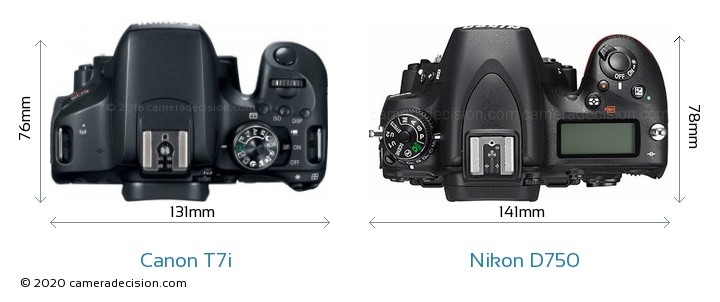 Canon T7i vs Nikon D750 Camera Size Comparison - Top View