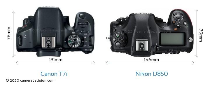 Canon T7i vs Nikon D850 Camera Size Comparison - Top View