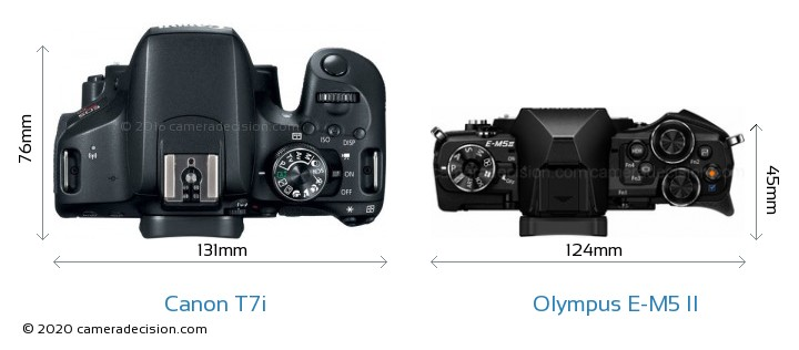 Canon T7i vs Olympus E-M5 II Camera Size Comparison - Top View