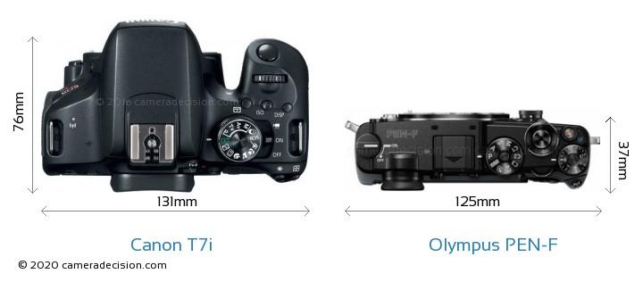 Canon T7i vs Olympus PEN-F Camera Size Comparison - Top View