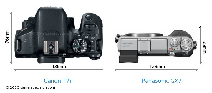 Canon T7i vs Panasonic GX7 Camera Size Comparison - Top View