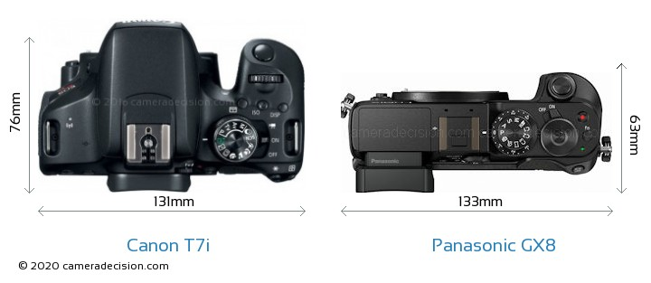 Canon T7i vs Panasonic GX8 Camera Size Comparison - Top View