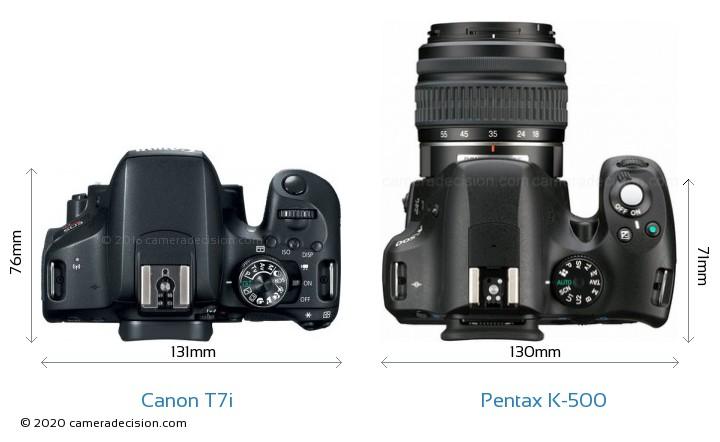 Canon T7i vs Pentax K-500 Camera Size Comparison - Top View