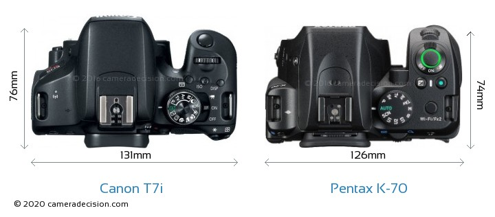 Canon T7i vs Pentax K-70 Camera Size Comparison - Top View