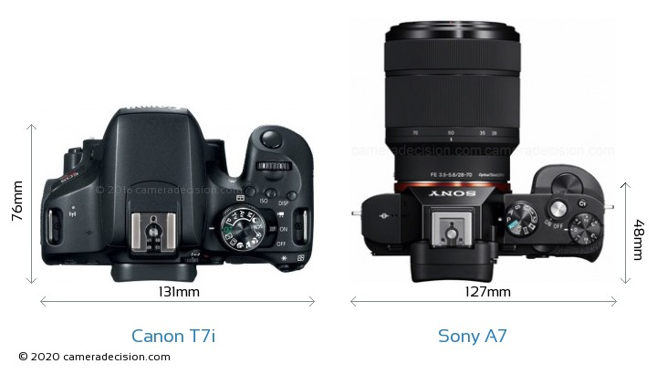 Canon T7i vs Sony A7 Camera Size Comparison - Top View