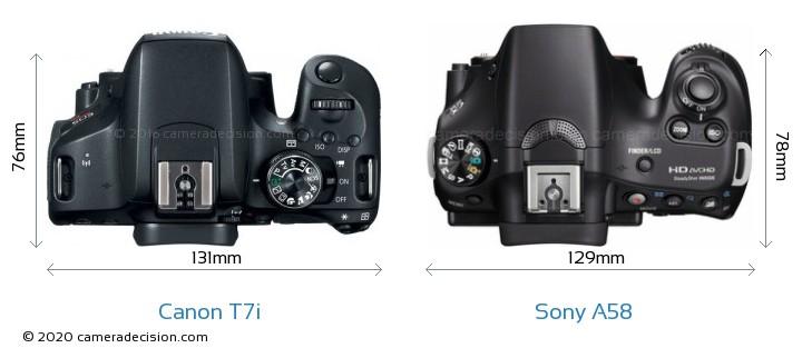 Canon T7i vs Sony A58 Camera Size Comparison - Top View