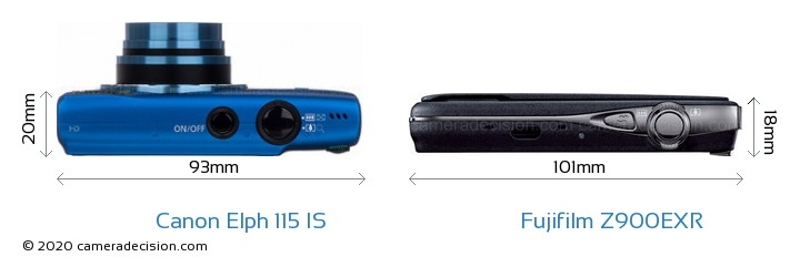 Canon Elph 115 IS vs Fujifilm Z900EXR Camera Size Comparison - Top View