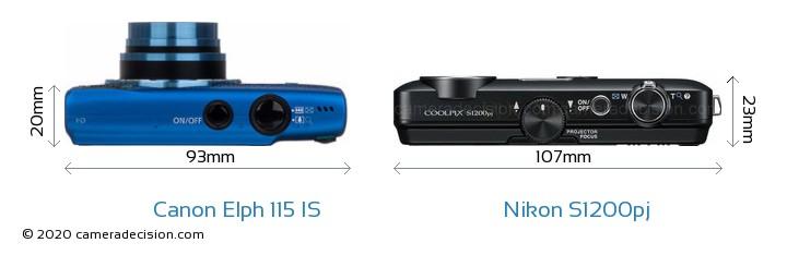 Canon Elph 115 IS vs Nikon S1200pj Camera Size Comparison - Top View