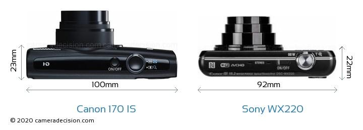 Canon 170 IS vs Sony WX220 Camera Size Comparison - Top View