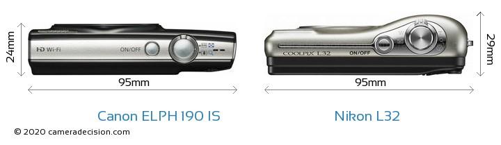 Canon ELPH 190 IS vs Nikon L32 Camera Size Comparison - Top View