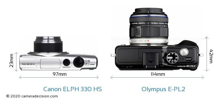 Canon ELPH 330 HS vs Olympus E-PL2 Camera Size Comparison - Top View