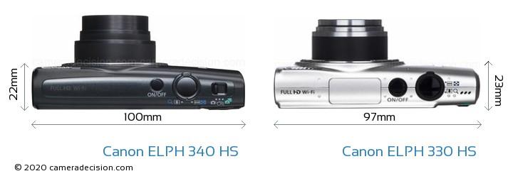 Canon ELPH 340 HS vs Canon ELPH 330 HS Camera Size Comparison - Top View