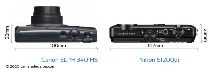 Canon ELPH 340 HS vs Nikon S1200pj Camera Size Comparison - Top View