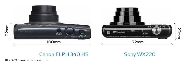 Canon ELPH 340 HS vs Sony WX220 Camera Size Comparison - Top View