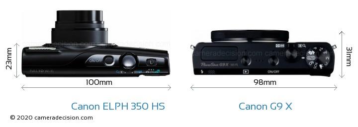 Canon ELPH 350 HS vs Canon G9 X Camera Size Comparison - Top View