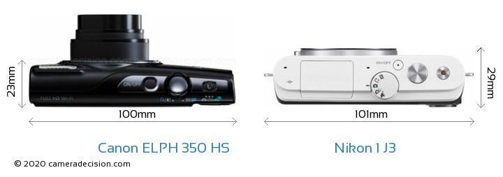 Canon ELPH 350 HS vs Nikon 1 J3 Camera Size Comparison - Top View