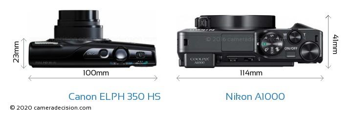 Canon ELPH 350 HS vs Nikon A1000 Camera Size Comparison - Top View