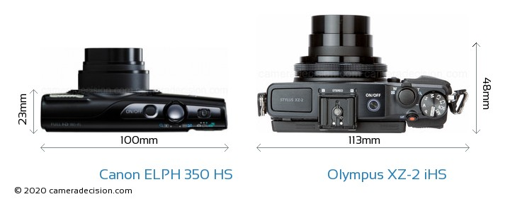 Canon ELPH 350 HS vs Olympus XZ-2 iHS Camera Size Comparison - Top View
