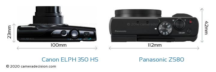 Canon ELPH 350 HS vs Panasonic ZS80 Camera Size Comparison - Top View