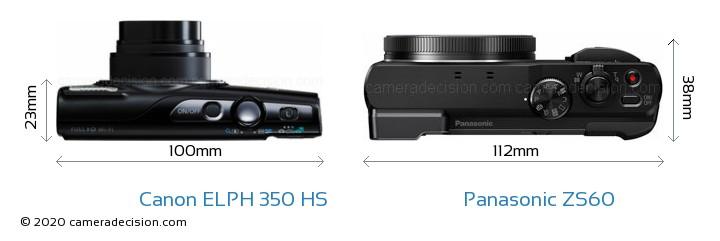 Canon ELPH 350 HS vs Panasonic ZS60 Camera Size Comparison - Top View