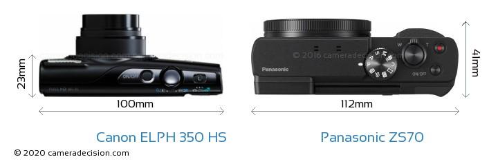 Canon ELPH 350 HS vs Panasonic ZS70 Camera Size Comparison - Top View