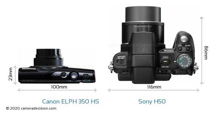Canon ELPH 350 HS vs Sony H50 Camera Size Comparison - Top View