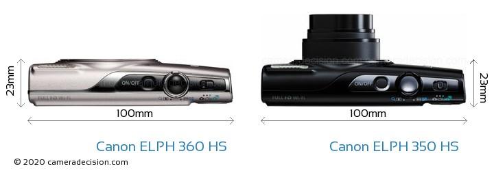 Canon ELPH 360 HS vs Canon ELPH 350 HS Camera Size Comparison - Top View