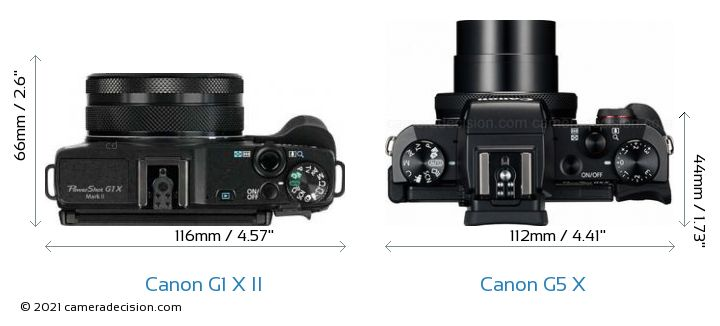Canon G1 X MII vs Canon G5 X Camera Size Comparison - Top View
