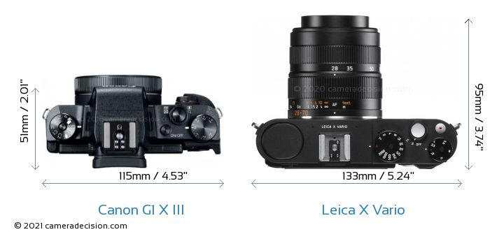 Canon G1 X III vs Leica X Vario Camera Size Comparison - Top View