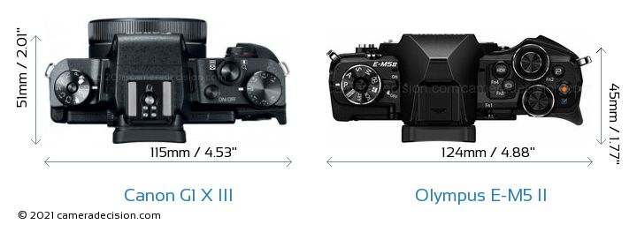 Canon G1 X III vs Olympus E-M5 II Camera Size Comparison - Top View