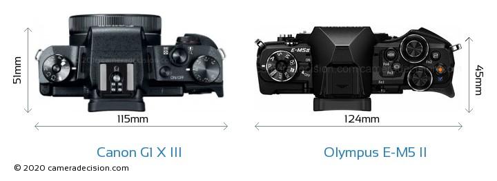 Canon G1 X III vs Olympus E-M5 II Camera Size Comparison - Top View