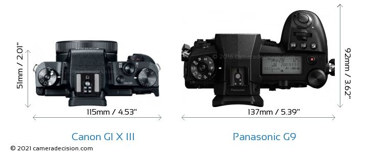 Canon G1 X III vs Panasonic G9 Camera Size Comparison - Top View