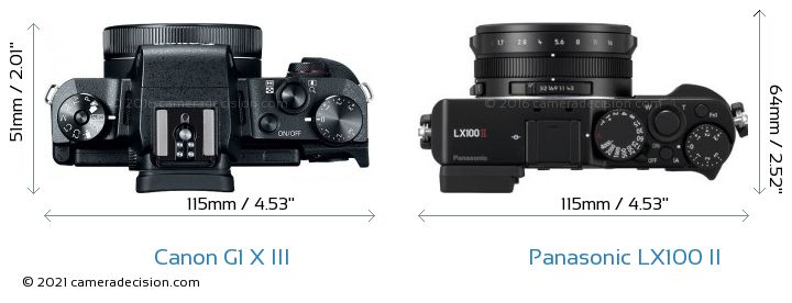 Canon G1 X III vs Panasonic LX100 II Camera Size Comparison - Top View