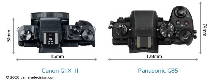 Canon G1 X III vs Panasonic G85 Camera Size Comparison - Top View