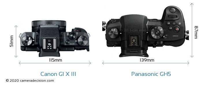 Canon G1 X III vs Panasonic GH5 Camera Size Comparison - Top View