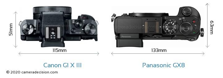 Canon G1 X III vs Panasonic GX8 Camera Size Comparison - Top View
