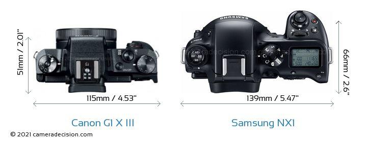 Canon G1 X III vs Samsung NX1 Camera Size Comparison - Top View